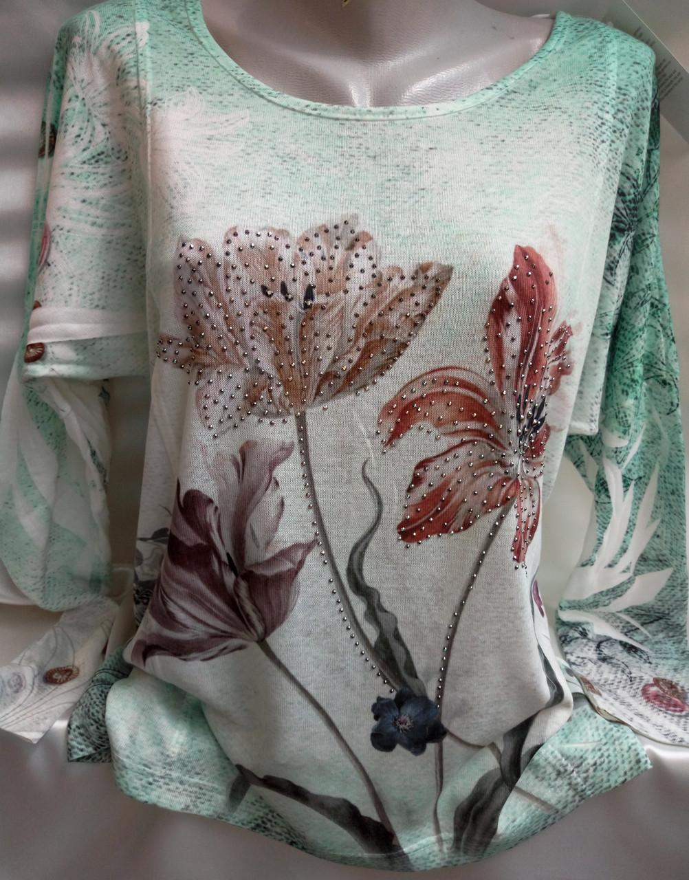 Свитер с цветочным принтом женский батальный, фото 1