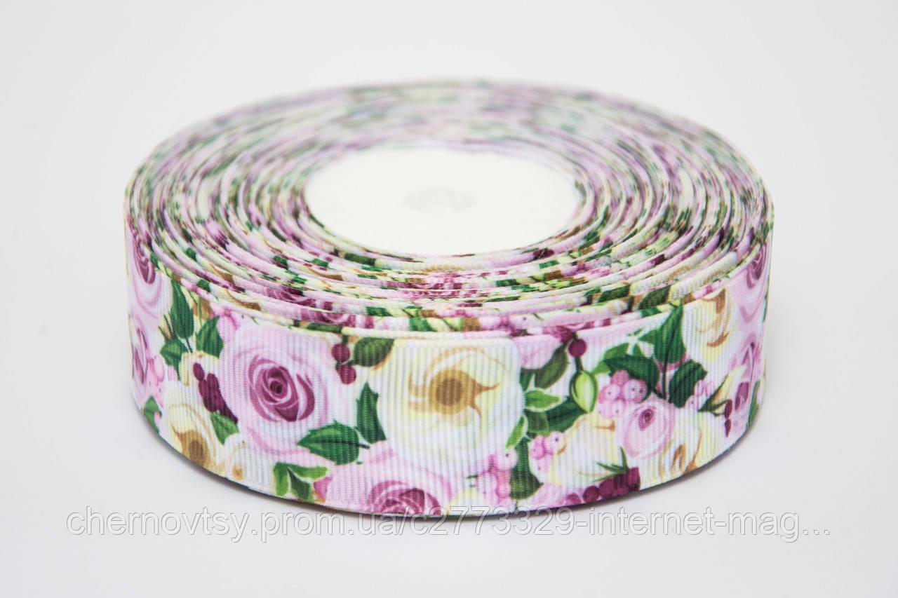 """Лента репс 2,5 см """"Сиреневые розы"""" (23м)"""