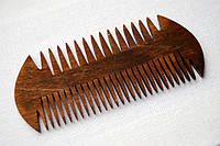 """Деревянный гребешок для бороды и усов """"Рыбка-2"""" ручной работы"""