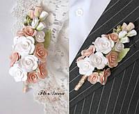 """""""Бело-персиковые розы"""" бутоньерка для жениха или свидетеля. Свадебные аксессуары, фото 1"""
