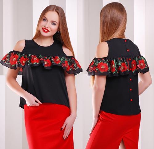 267d0e36ba6 Черная женская блузка с принтованным воланом - СТИЛЬНАЯ ДЕВУШКА интернет  магазин модной женской одежды в Киеве