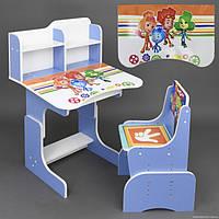Регулируемая детская парта со стульчиком  Фиксики, голубая