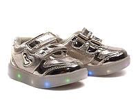 Детские led кроссовки мигалки цвета золото обувь с подсветкой р.21,22,23,24,25,26