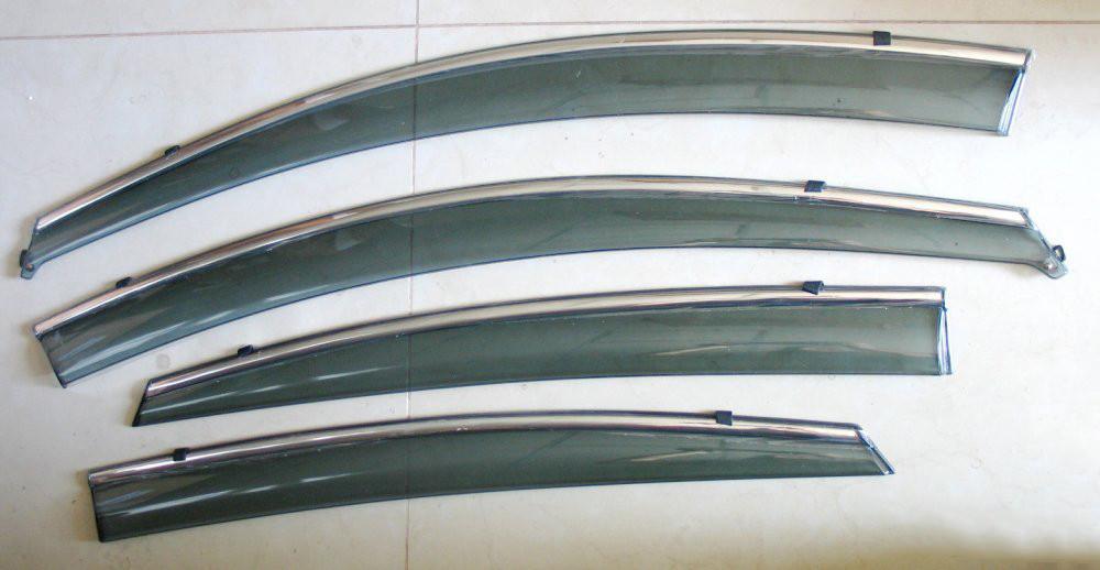 Дефлекторы окон ветровики на HYUNDAI ХУНДАЙ Хендай Solaris / Accent ASP с молдингом нержавеющей стали