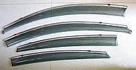 Дефлекторы окон ветровики на HYUNDAI ХУНДАЙ Хендай Solaris / Accent ASP с молдингом нержавеющей стали, фото 1