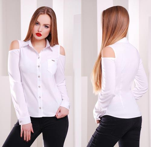 08ac8c7dcca Белая блузка с вырезами на плечах - СТИЛЬНАЯ ДЕВУШКА интернет магазин  модной женской одежды в Киеве