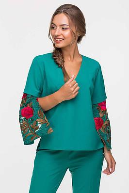 Блуза с гипюровым рукавом LADY зеленая