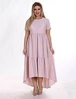 Летнее вечернее платье макси фрезового цвета. Модель G3004