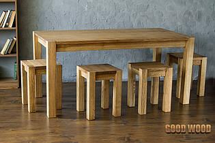 Стол деревянный обеденный W-1, ясень или дуб, (Ш1400* В760 * Г800)