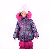 """Зимний комбинезон для девочек """"Абстракция малина"""""""