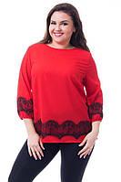 Однотонная модная блуза, декорирована кружевом.