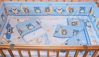 Комплект постельного белья в детскую кроватку Сова голубой из 3-х элементов