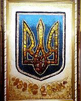 Герб Украины Тризуб картина из янтаря