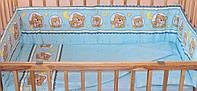 Комплект постельного белья в детскую кроватку Мишка в круге голубой из 3-х элементов