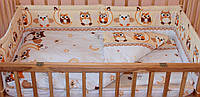 Комплект постельного белья в детскую кроватку Сова бежевый  из 3-х элементов