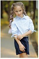 Рубашка для девочки в школу голубая,10-13 лет