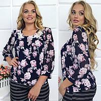 Красивая женская блуза в цветочный принт.