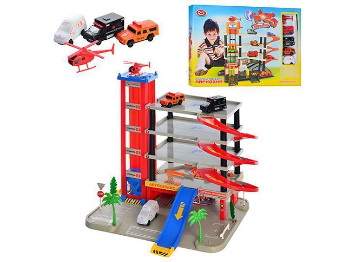 Детский Многоуровневый Гаражпаркинг на 5 ярусов, 4 машинки, вертолет, 0845
