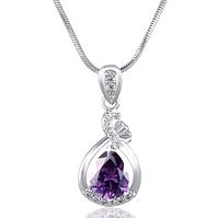 Позолоченная цепочка женская с сиреневым кристаллом код 1070