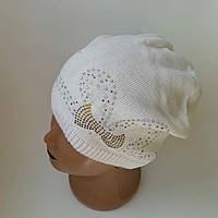 Детская вязаная шапка для девочки с бантиками р 52-54 оптом