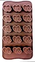 """Силиконовая форма для шоколада """"Сердечки-валентинки из 15"""""""