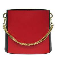 Женская  сумка из натуральной кожи фабричная (отшита  в Италии) комбинированного цвета, на одно отделение