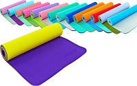 Коврик для фитнеса и йоги двухслойный TPE 5172, 16 цветов: толщина 6мм, размер 1,73х0,61м
