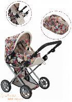 Детская коляска для куклы 2 в 1 с люлькой Mary цветная