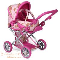 Детская коляска для куклы 2 в 1 с люлькой Mary розовая