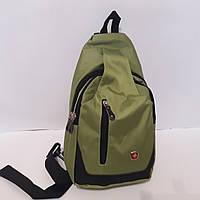 Молодежный городской рюкзак сумка Swissgear на одно плечо 10 л 1558 зеленый стильный