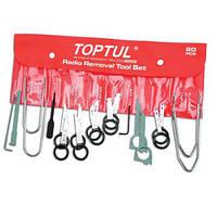 Набор съемников для автомагнитол, 20 предметов Toptul
