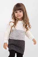 Теплый трехцветный свитер для девочек, т.серый/св.серый/молоко