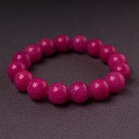 Браслет  нат камень на резинке Турмалин розовый гладкий шарик  d-12мм