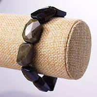 Браслет  нат камень на резинке Солнечный Обсидиан граненое  звено d-15-20мм