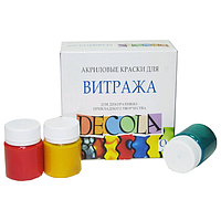 Набор акриловых красок для витража 6штх20мл, Decola, фото 1