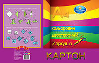 Набор цветного картона А4, двусторонний, 7 листов,7 цветов, Тетрада, 175131