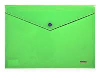 Папка, конверт на кнопке, А4, зеленая, непрозрачная, Norma, 5017, 501742