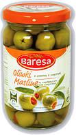 Оливки зеленые фаршированные красным перчиком Baresa Olive, 270 гр., фото 1