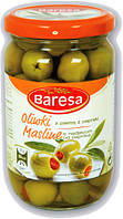 Оливки зеленые фаршированные красным перчиком Baresa Olive, 270 гр.