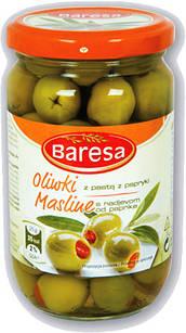 Оливки зелені фаршировані червоним перчиком Baresa Olive, 270 гр.
