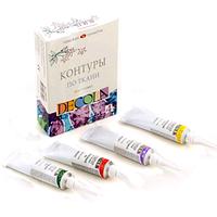 Набор контуров для росписи по ткани Цветные 4х18мл, Decola