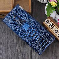 Женский кошелек Crocodile с 3D тиснением кожаный большой синий