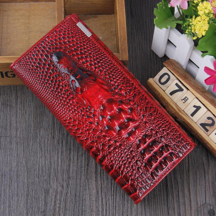 Женский кошелек Crocodile с 3D тиснением кожаный большой бордовый