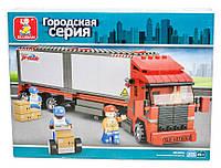 Конструктор Sluban Городская серия M38-B0338 Фура, большой красный грузовик