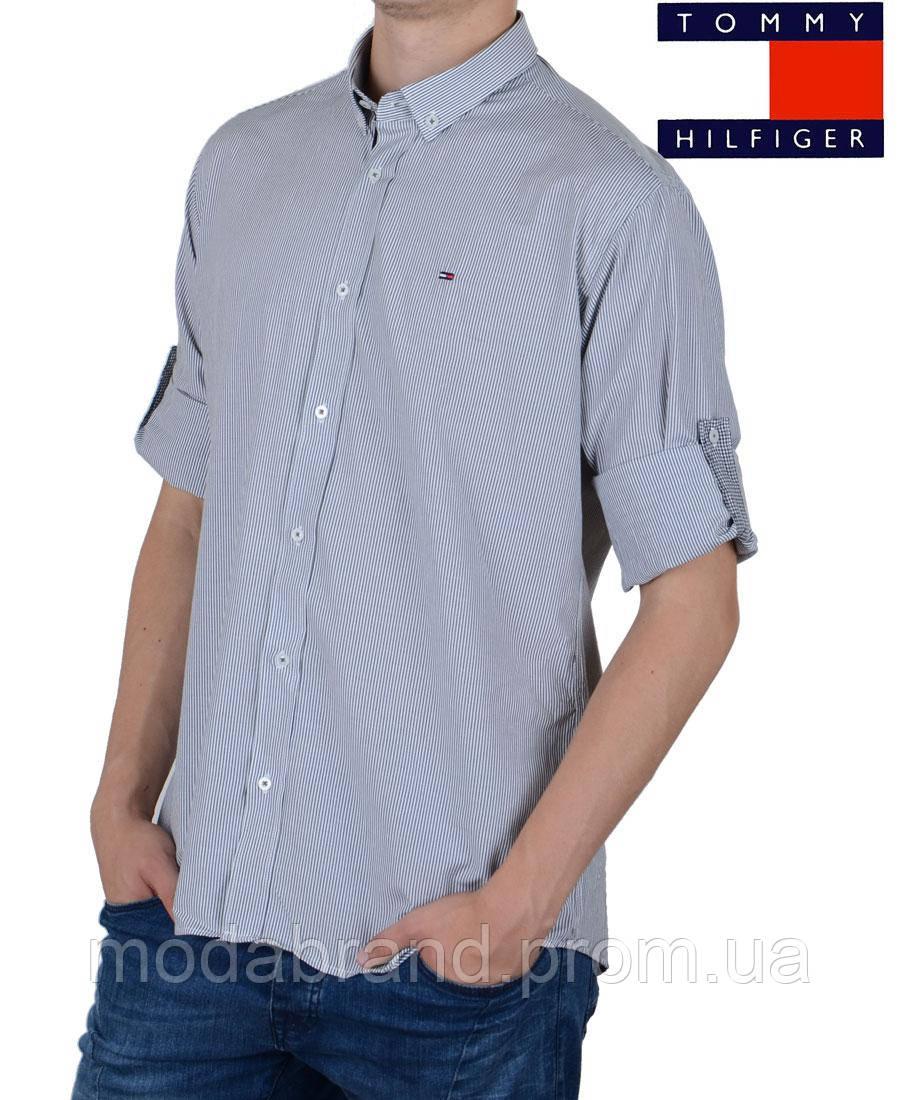 623fd2efe085 Стильная мужская рубашка в тонкую полоску Tommy Hilfiger