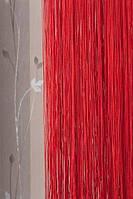 Нитяные шторы однотонные простые красные