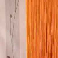 Нитяные шторы однотонные простые оранжевые