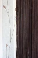 Нитяные шторы однотонные простые черные
