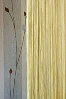 Нитяные шторы однотонные простые кремовые