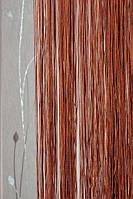 Нитяные шторы однотонные простые шоколадные